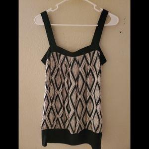 White House Black Market Silk Sleevess Paisley Top